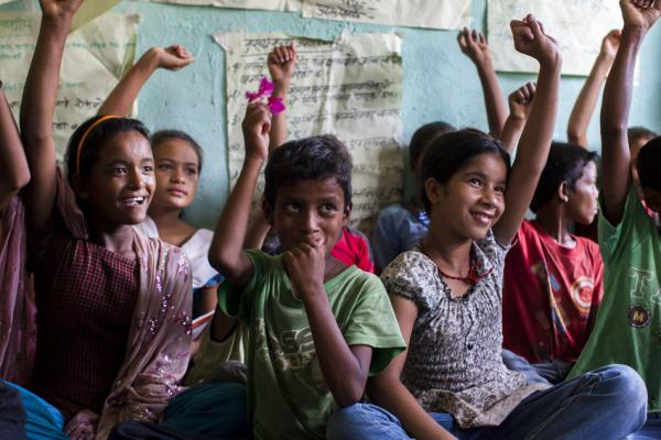 A meeting of the Kishuri Sachetana Child Club in western Nepal. Supported by the government, Save the Children and local partner Safer Society, this is one of a number of children's clubs that campaign for, and raise awareness of, children's rights. Suzanne Lee/Save the Children