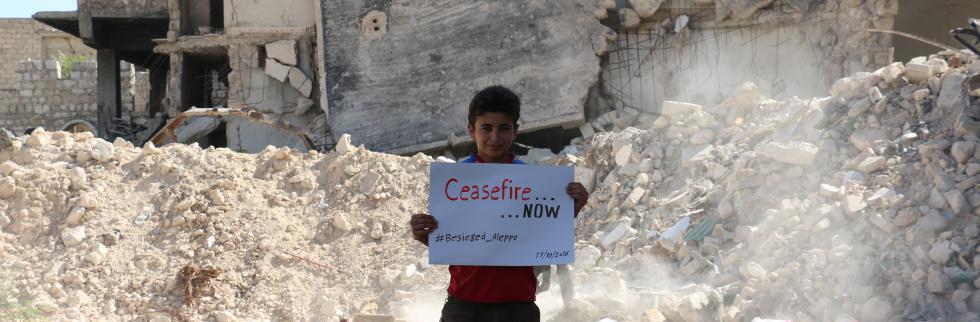 Aleppo vigil mourns children killed and injured since ceasefire breakdown