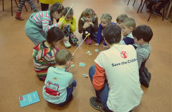 Children enjoy activities at a child friendly space. Photo Save the Children