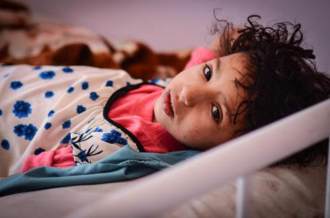 Yasmine*, seven, was brought into al-Sabeen Children's Hospital in Sana'a, Yemen, suffering from cholera. Mohammed Awadh/Save the Children