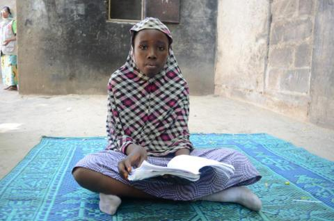 Fourteen year-old Adama* is a pupil at Save the Children pre-school classes in Borno State in north-east Nigeria. She says her father, a head teacher, was murdered by insurgents during an attack on her village. Sussan Akila/ Save the Children