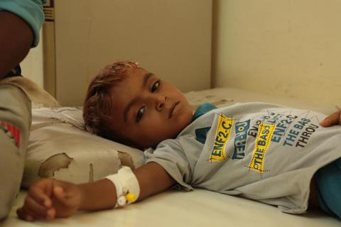 A young boy being treated at the Al Salakana Hospital in the Al Hali district of Hodeida governerate. Mohammed Awadh/Save the Children