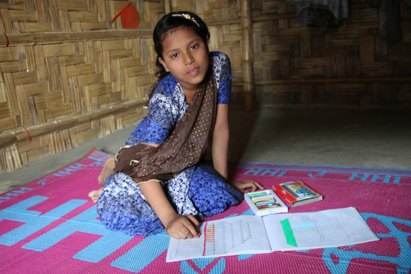 Hasina* (13) is a Rohingya refugee girl who lives in Cox's Bazar, Bangladesh, with her parents and younger brother