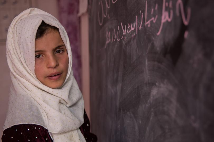 Hajira*, 10, attends school in a village in Kabul province, Afghanistan. She says she goes to school but is afraid of kidnapping on her way.