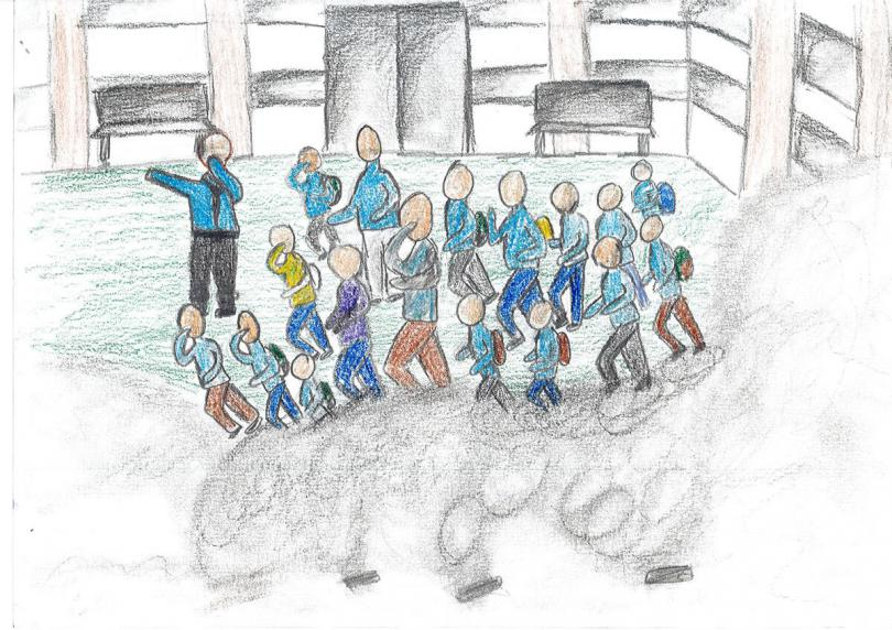 Drawing of children running from teargas, by Luma*, 16, Hebron, West Bank, occupied Palestinian territory