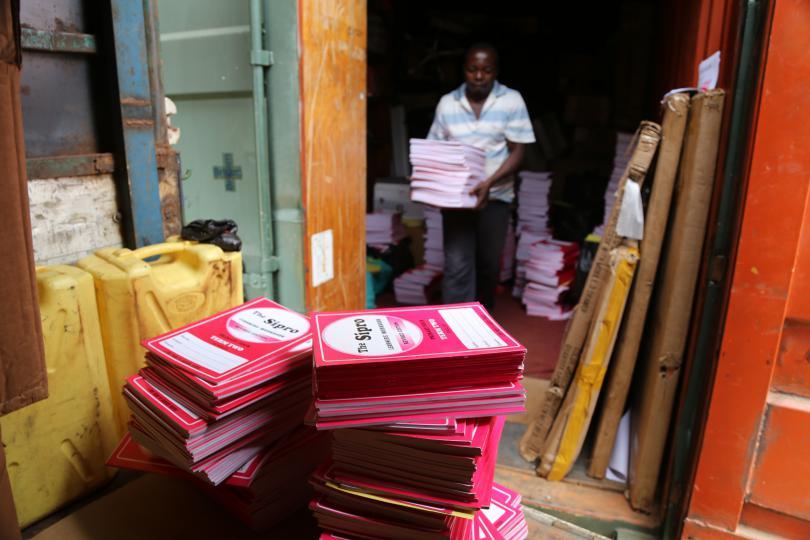 Teams distribute learning materials in Uganda