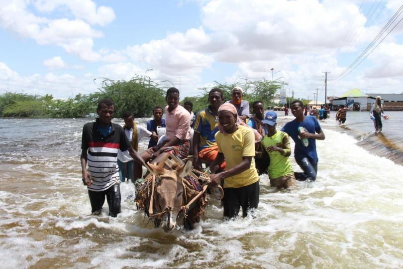 Residents of Baladweyne affected by the floods escaping on donkey cart. Thousands of people have been left displaced due to flooding in the worst-affected area of Beladwayne, Somalia.