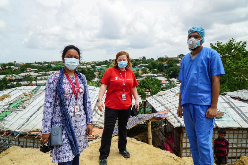 Dr Nabila (left) and Rachael Cummings (middle) and Rasadul Hasan (right) are working on the COVID-19 response in Cox's Bazar