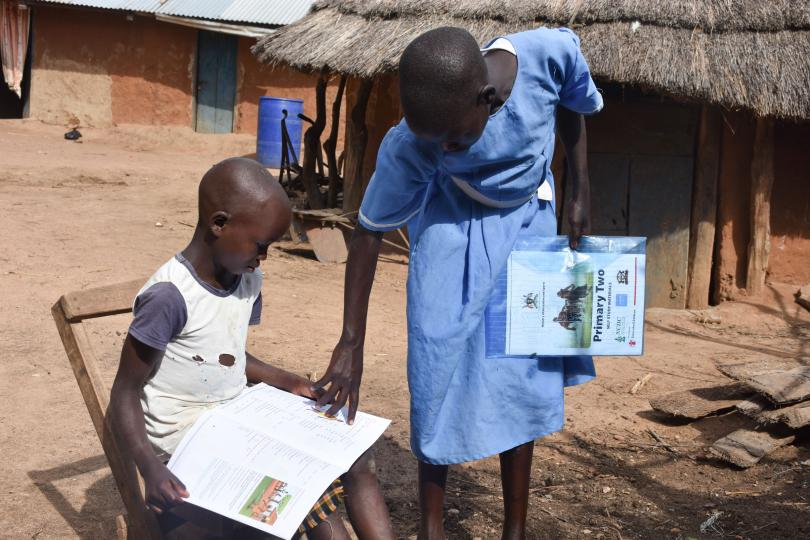 Anna, 12, keeps learning from home in northeast Uganda