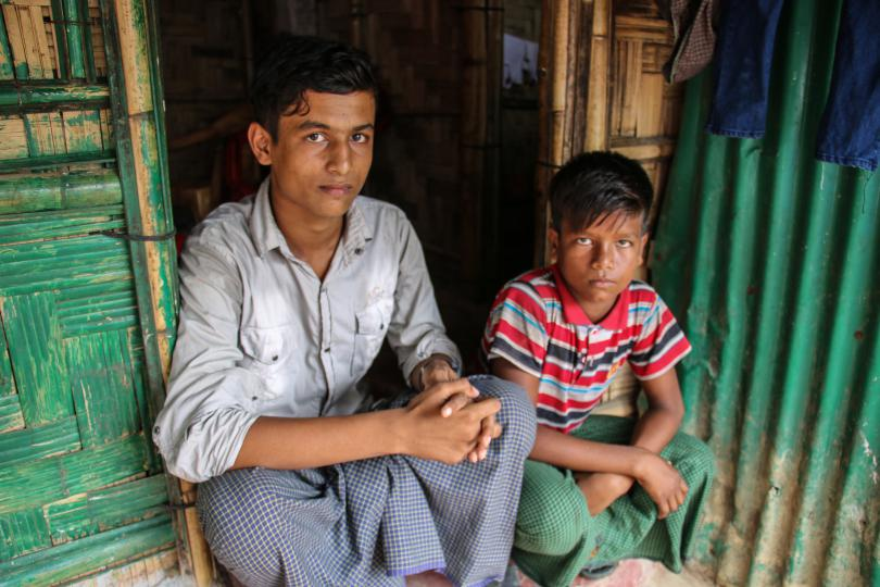 Kamal* (15) lives with his brother, Abdul* (12) and his grandmother, Gulsan*, in the Rohingya refugee camps in Cox's Bazar, Bangladesh.