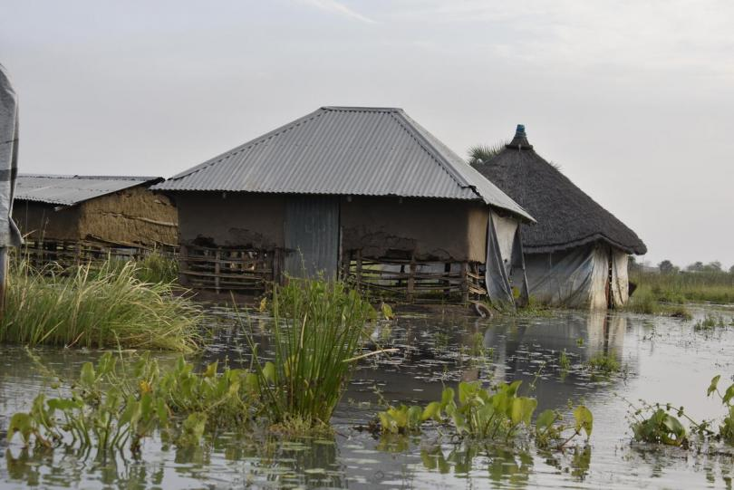 Houses damaged by floods in Bor, South Sudan