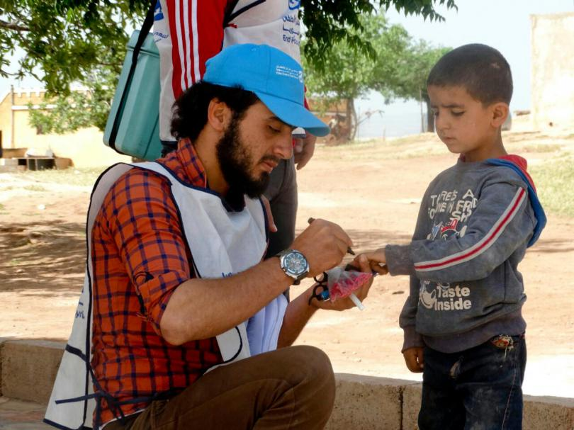 Save the Children staff working inside Syria carry out a polio vaccination campaign in North West Syria for children aged 1 day to 5 years.
