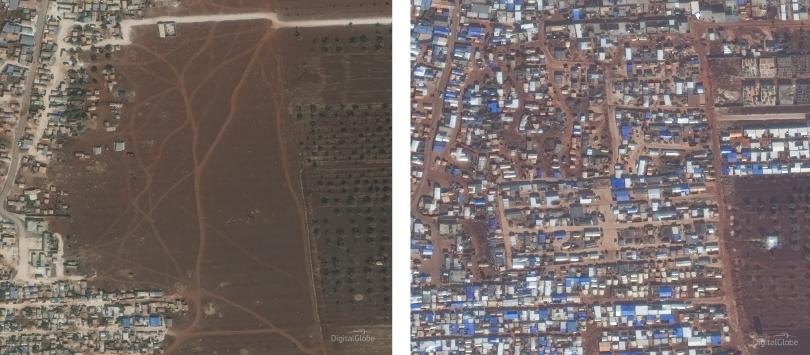 Sat images of Idlib camps