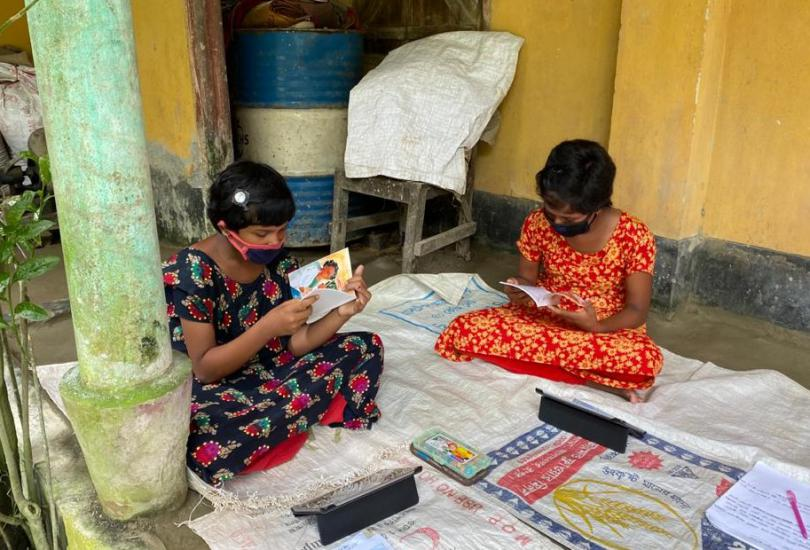 Students learning with tablets at Rajarhat upazila, Bangladesh
