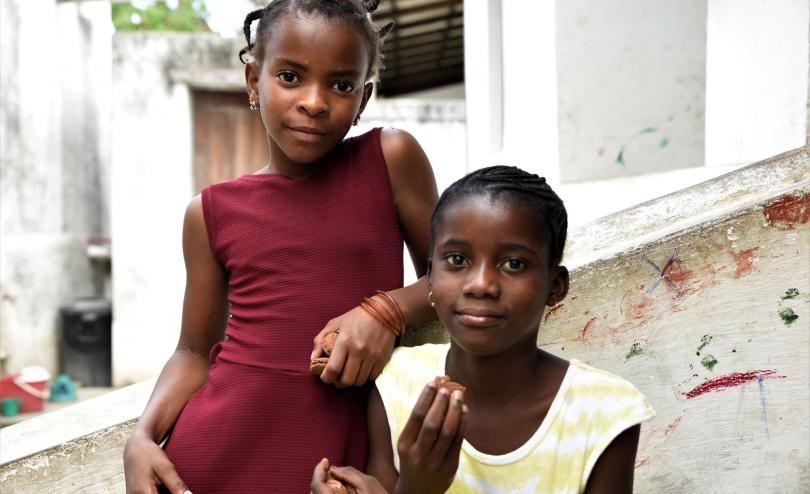 Elina* and Faria* at the child friendly space, Mozambique (Capo Delgado)