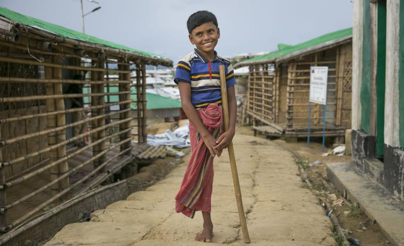 Aziz*, a Rohingya refugee living in Cox's Bazar. He had his leg amputated after being shot during violence in Myanmar