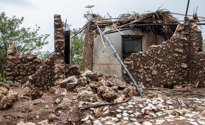 Damage to a home in Mozambique