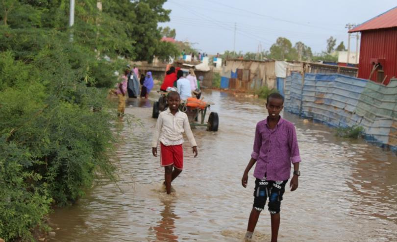 Children playing in flooded areas in Koshin, Beledweyne