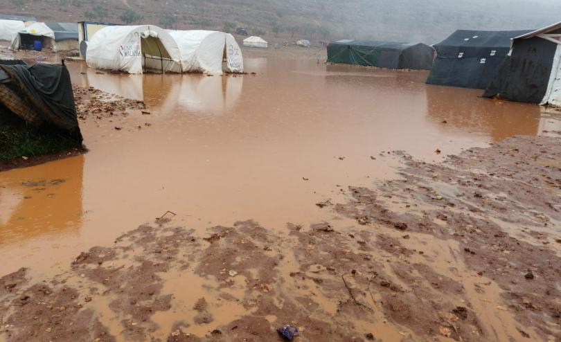 Floods inside a displacement camp in Idlib, North West Syria
