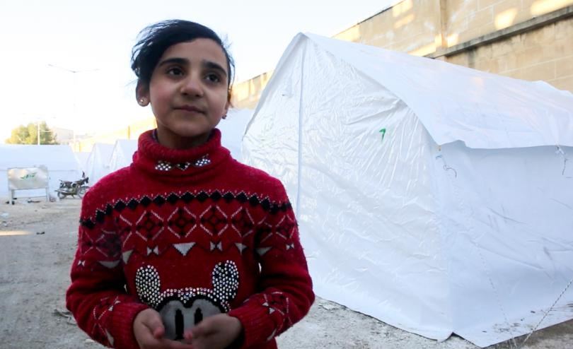 Hayat*, 10, fled Ma'arat Nu'man with her family and is now sheltering in a former playground in Idlib, NW Syria