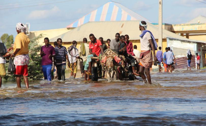 Displaced residents use donkeys to travel through flooded streets in Beladwayne, Somalia.