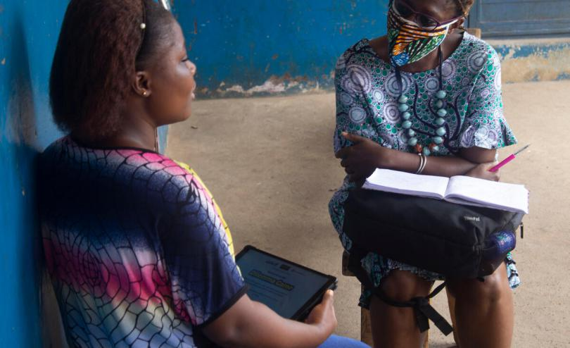 Fatamata, 18, taking part in the pre-testing roll out of Save the Children's innovative Sexual health / COVID-19 game app