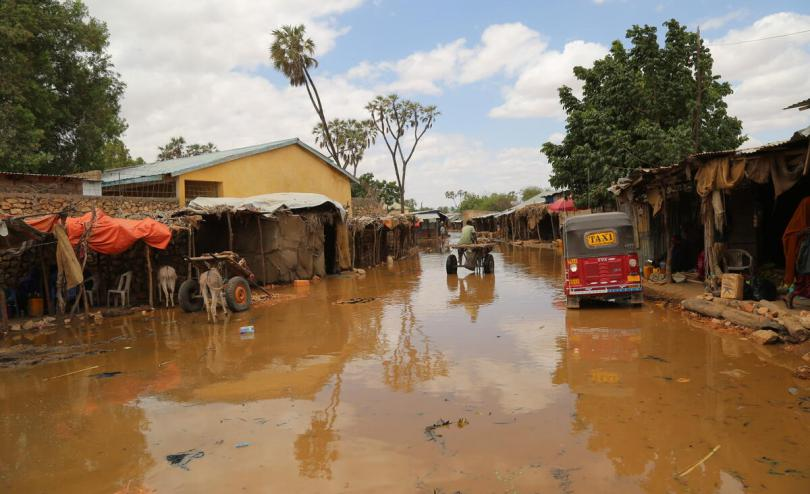 A flooded market street in the center of Beletweyne, Somalia