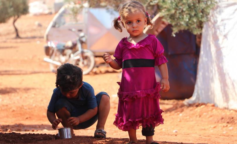 Mais*, 3 lives in a displacement camp in northern Idlib with her brother Maher*, 2