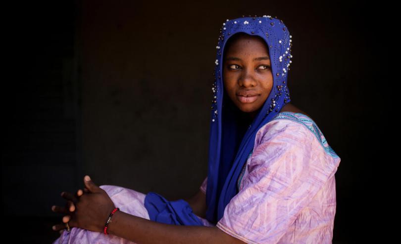 A portrait of Kadidia*, aged 14, Mopti region, Mali.