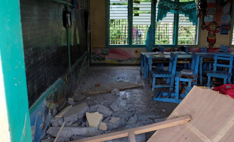Photo shows damage to the Bacungan Elementary School in Magsaysay, Davao del Sur by the 6.6 magnitude earthquake on October 29th 2019.