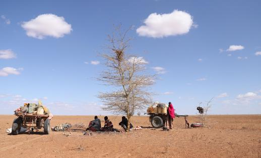 A family in Wajir, Kenya who are having to leave their homes because of the drought