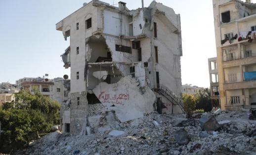 Destroyed building in Syria.