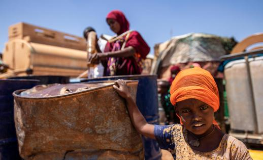 Amina* (27) and her family are impacted by the drought in Somalia and receive support from Save the Children's water trucking project