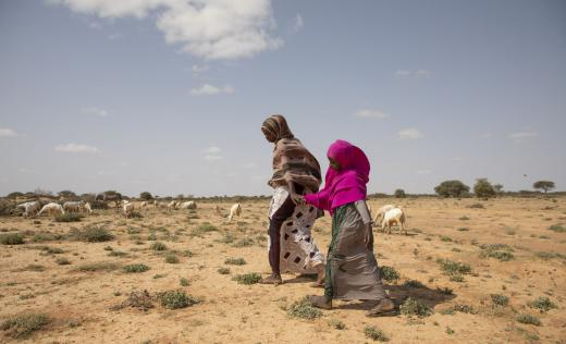Girls walk in rural Somalia