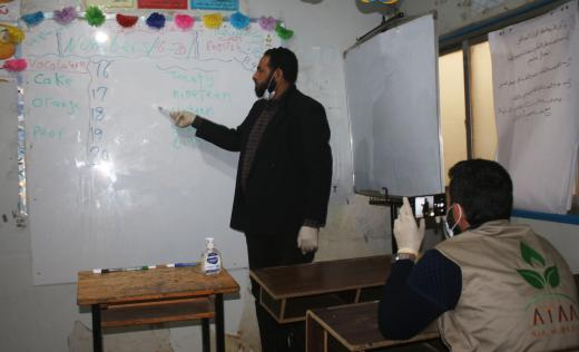 A partner in NW Syria prepares online learning