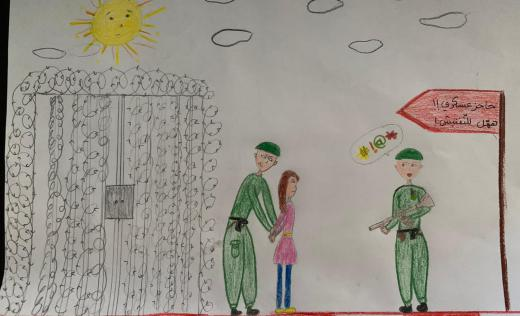 Drawing by Heba*, 17, former child detainee.
