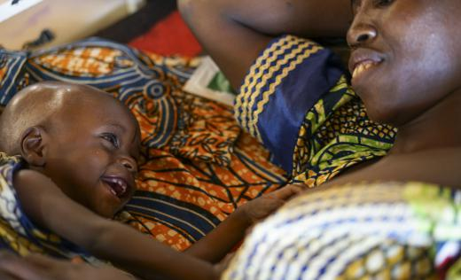 Oumar, one, is being treated at Aguie hospital, Niger. Oumar has just turned 1 year old. He and his mother Mariam live in Nigeria, but the Aguie hospital in Niger is the closest hospital to their home.