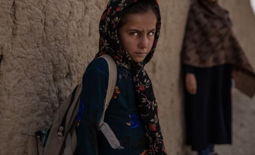 Ghazal*, 8, in her village in Kabul province