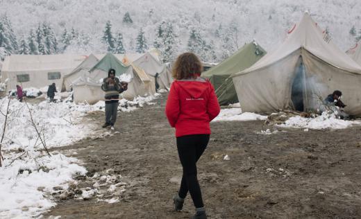 Winterisation - Save the Children staff working in (the now closed) Vucjak camp in Bihac, Bosnia