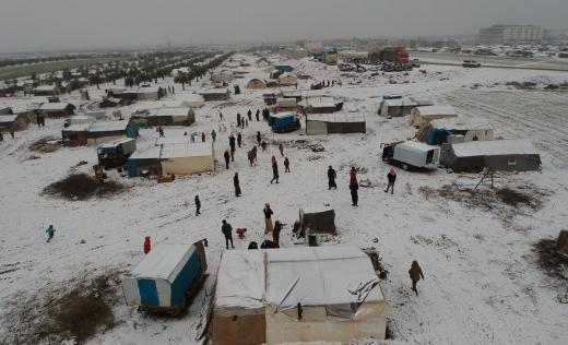 An informal displacement camp in Northern Idlib, Syria.