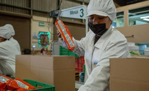 Essential food items being packaged for distribution across seven Mexico states.