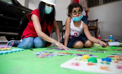 Sonia, 8, plays in the pop-up Child Friendly Space in Beirut