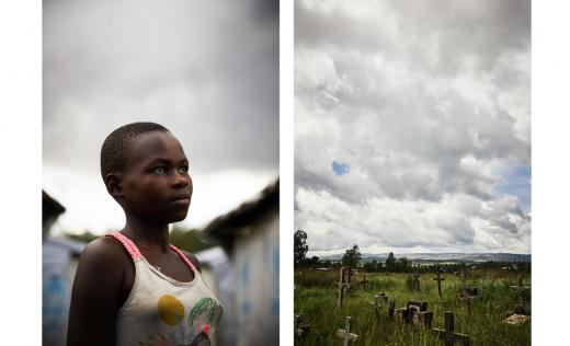 A portrait of Victoire*. 10, alongside a photo of the sky in Ituri Province, Democratic Republic of Congo (DRC).