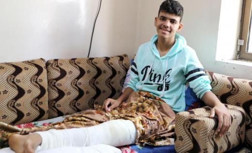 Hamdi*, 16 at his home in Taiz, Yemen
