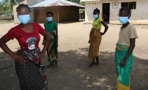 Displaced children in Metuge district, Cabo Delgado, participate in a consultation led by Save the Children