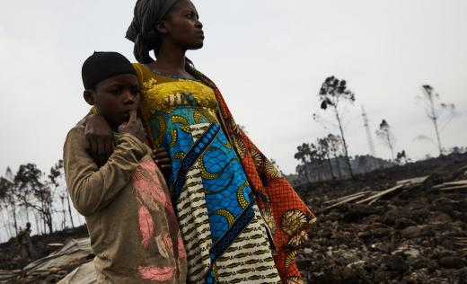 Jolie*, 11, with her mother Imamu*, Goma, DRC