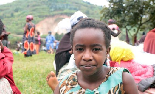 Alice* in a refugee camp in Rwanda. Alice's home was destroyed in a volcano in her home country, the Democratic Republic of Congo