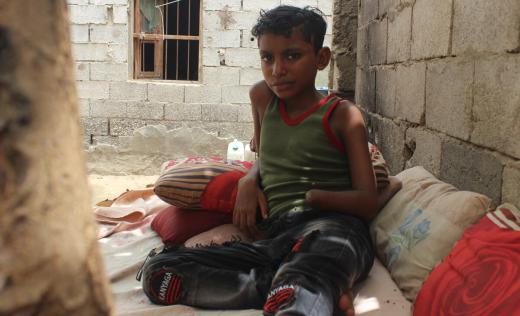 Tareq*, 12, injured by a missile, Hodeida, Yemen