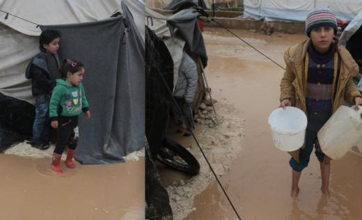 Children in Syria show the extent of the flooding