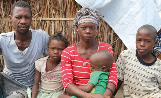 Elsa* and Andre* live with their three children Cremildo*, 9, Albertine*, 6 and Paizinho* 4 in a displacement camp, Cabo Delgado, Mozambique.